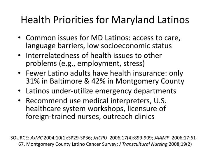 Health Priorities for Maryland Latinos