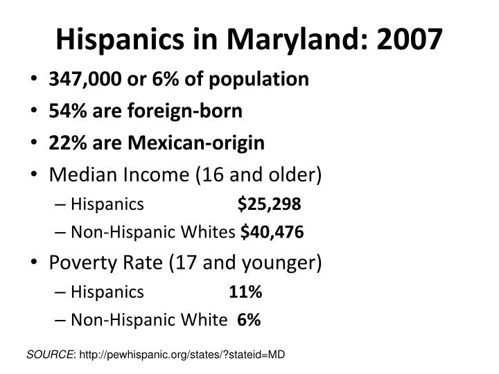 Hispanics in maryland 2007