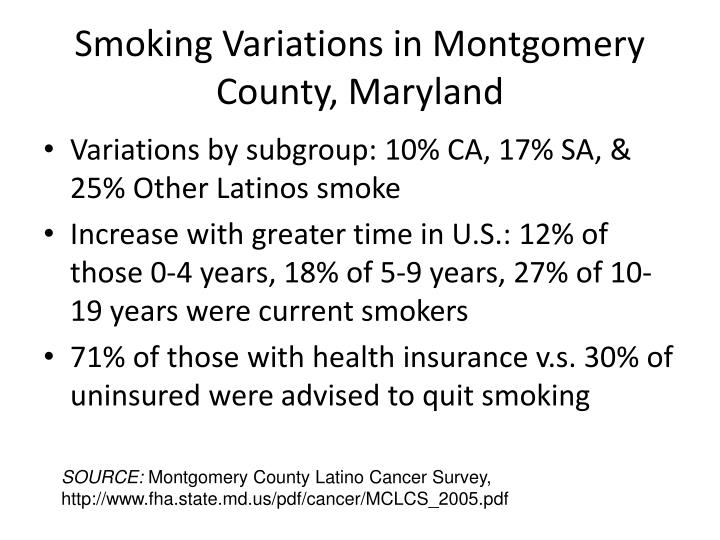 Smoking Variations in Montgomery County, Maryland