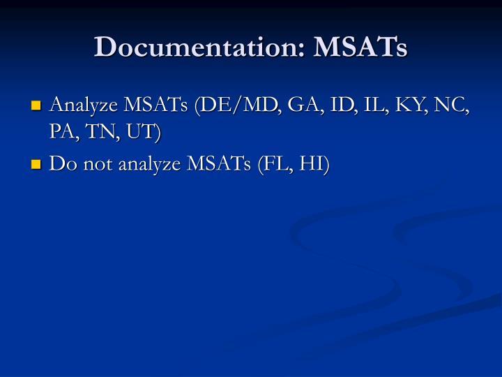 Documentation: MSATs