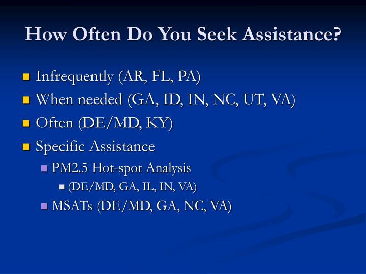 How often do you seek assistance