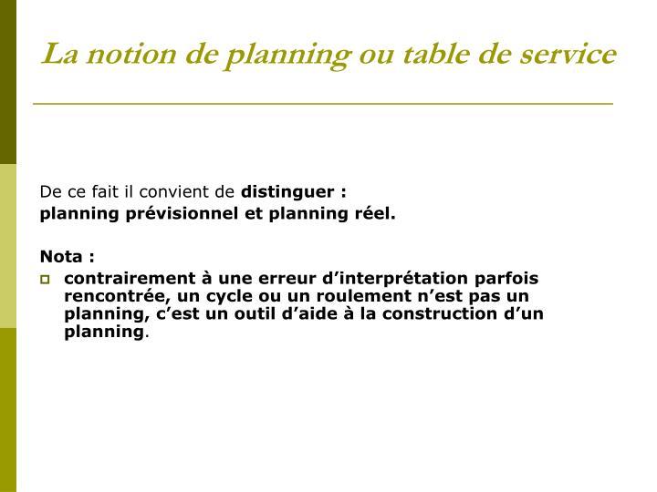 La notion de planning ou table de service