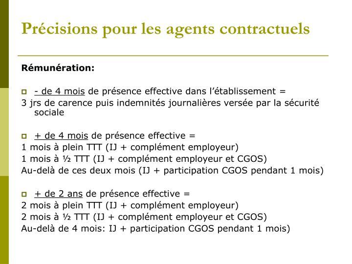 Précisions pour les agents contractuels
