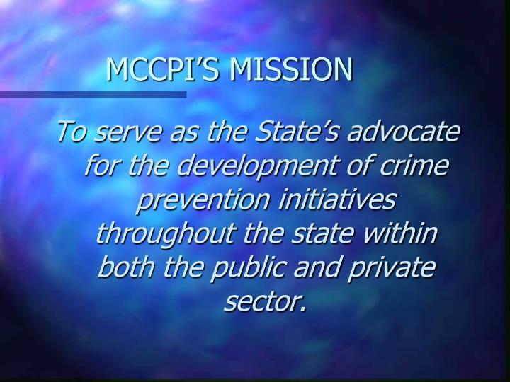 MCCPI'S MISSION