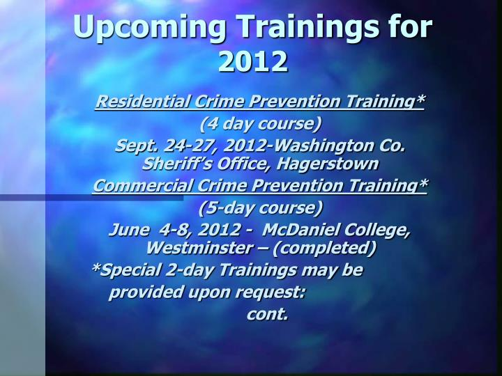 Upcoming Trainings for