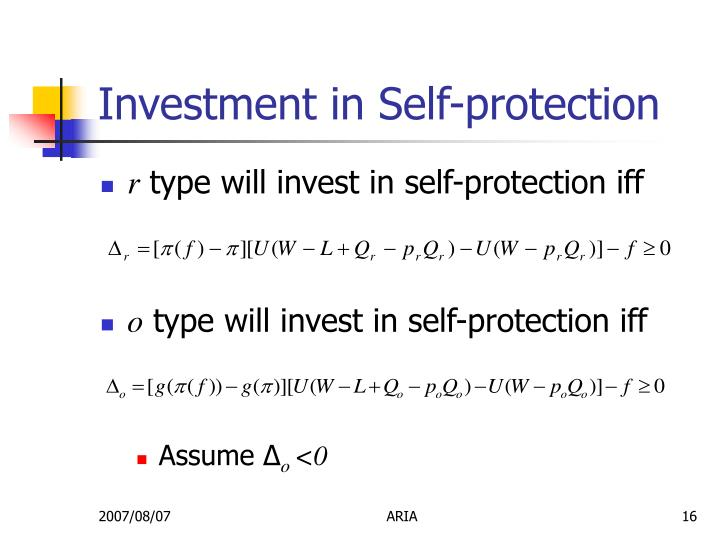 Investment in Self-protection