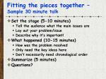 fitting the pieces together sample 30 minute talk