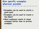 give specific examples wherever possible