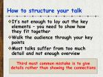 how to structure your talk