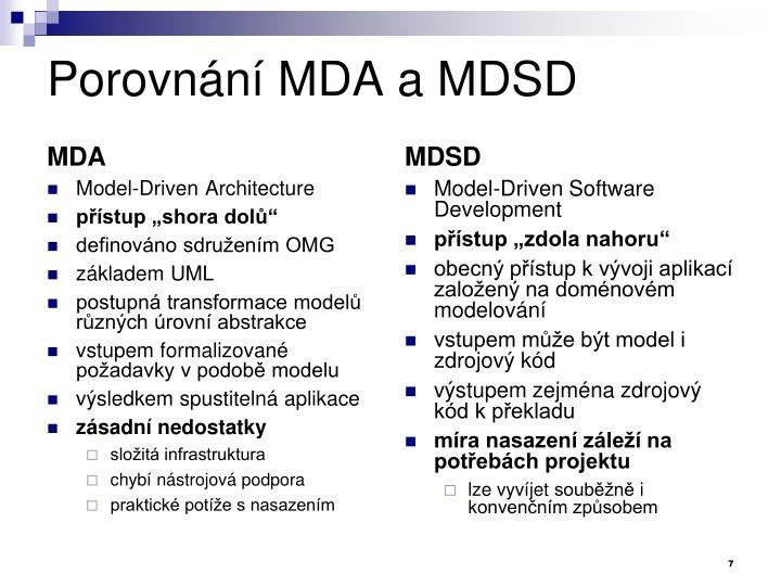 Porovnání MDA a MDSD