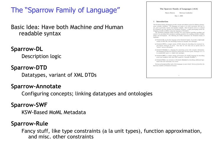 """The """"Sparrow Family of Language"""""""