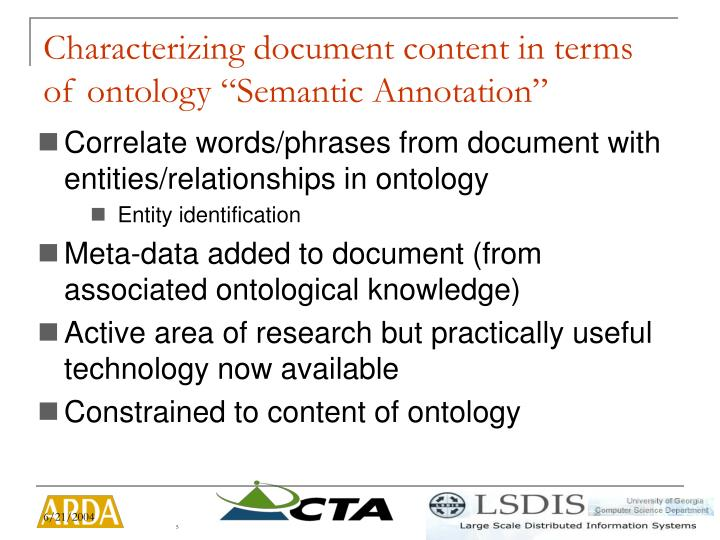 """Characterizing document content in terms of ontology """"Semantic Annotation"""""""