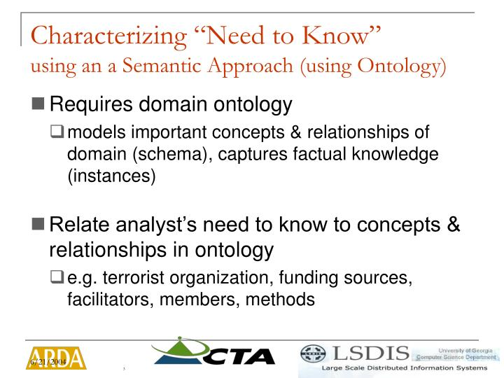 Characterizing need to know using an a semantic approach using ontology