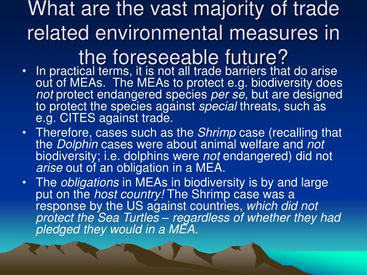 What are the vast majority of trade related environmental measures in the foreseeable future?