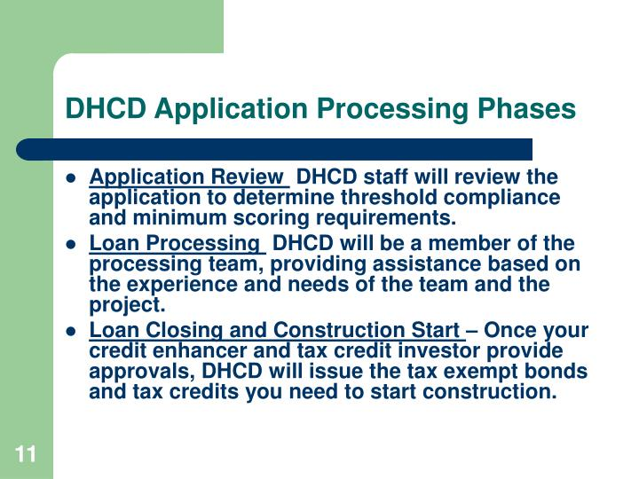 DHCD Application Processing Phases
