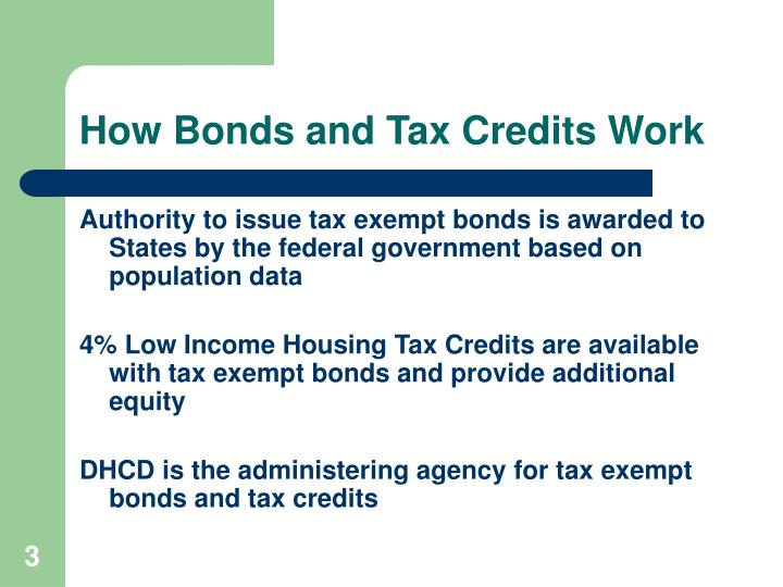 How bonds and tax credits work