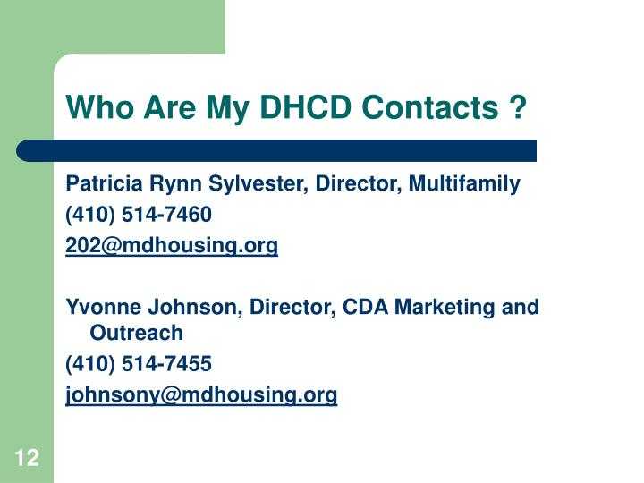 Who Are My DHCD Contacts ?