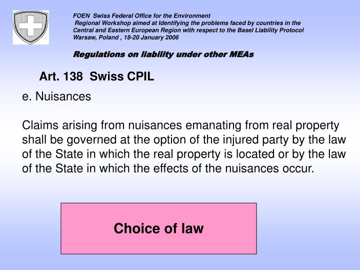Art. 138  Swiss CPIL