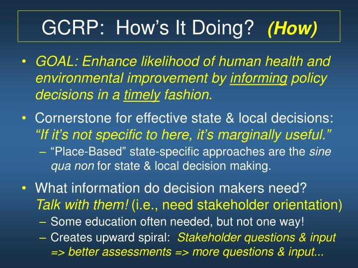 GCRP:  How's It Doing?
