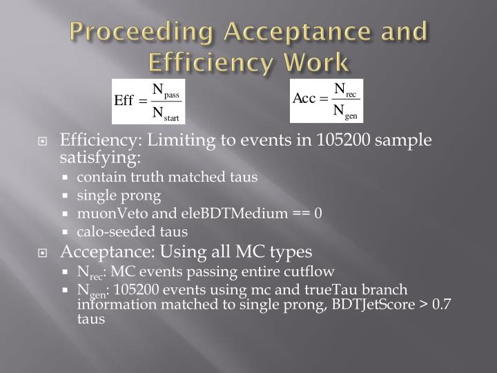 Proceeding Acceptance and Efficiency Work