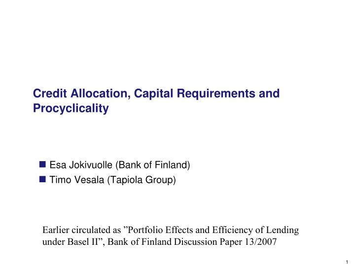 credit allocation capital requirements and procyclicality n.