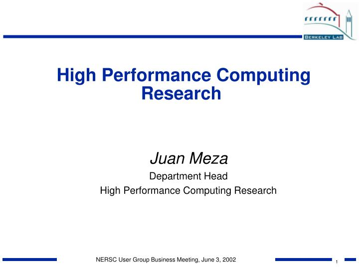high performance computing research n.
