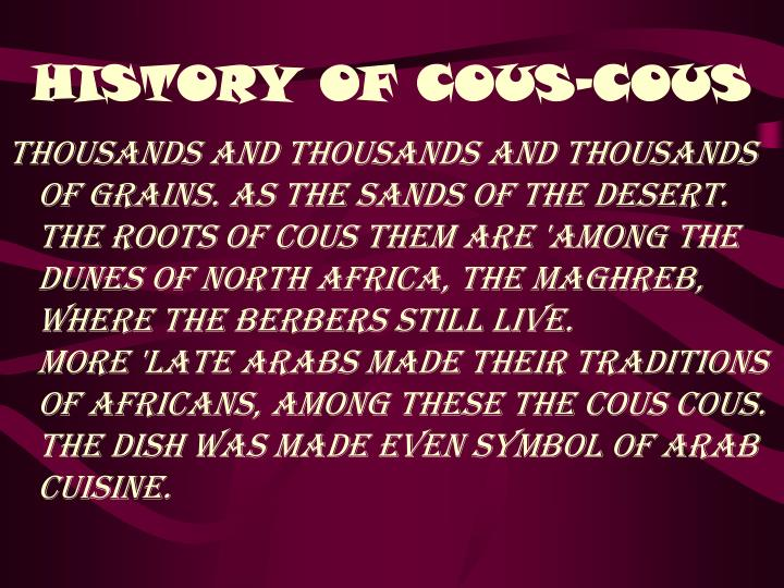 History of cous cous