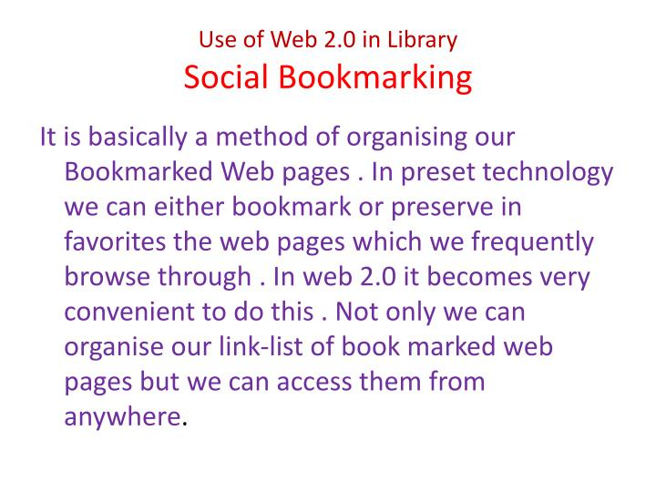 Use of Web 2.0 in Library