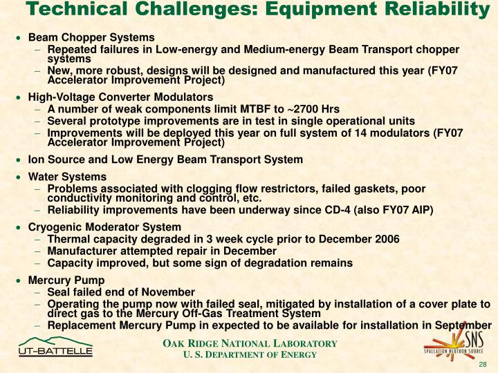 Technical Challenges: Equipment Reliability