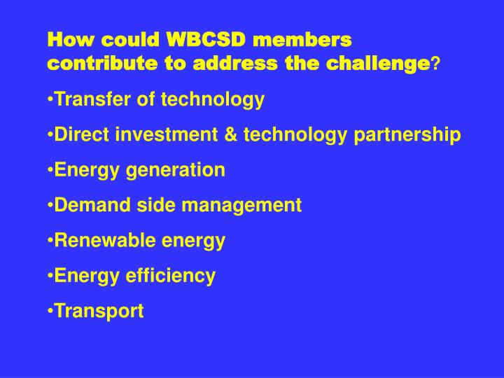 How could WBCSD members contribute to address the challenge