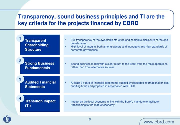 Transparency, sound business principles and TI are the key criteria for the projects financed by EBRD