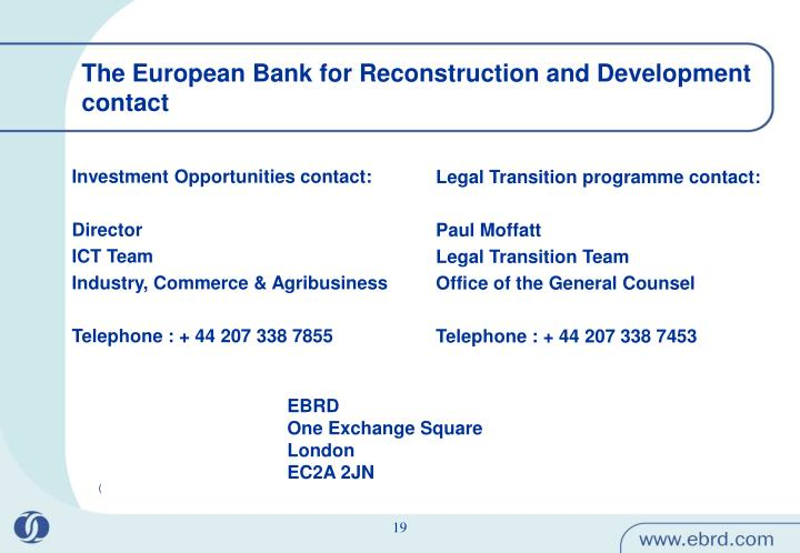 The European Bank for Reconstruction and Development contact