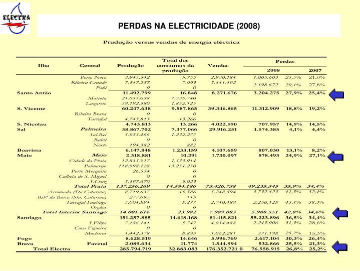 PERDAS NA ELECTRICIDADE (2008)