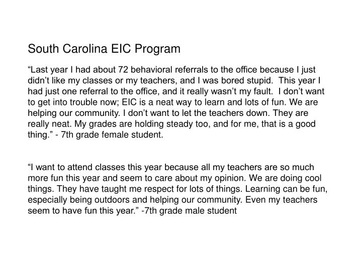 South Carolina EIC Program