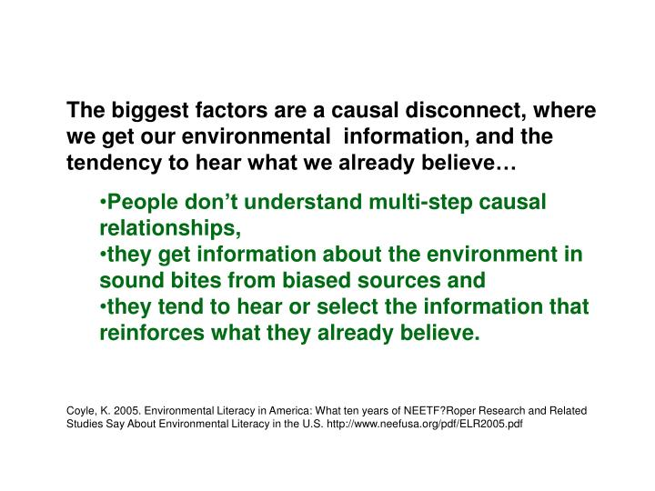 The biggest factors are a causal disconnect, where we get our environmental  information, and the tendency to hear what we already believe…