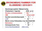 konomiske rammer for klubbene i 2010 2011