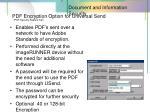 pdf encryption option for universal send pdf security feature set