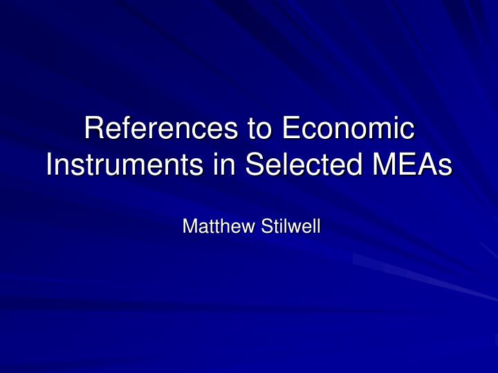 References to economic instruments in selected meas