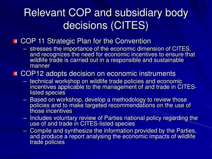 Relevant COP and subsidiary body decisions (CITES)