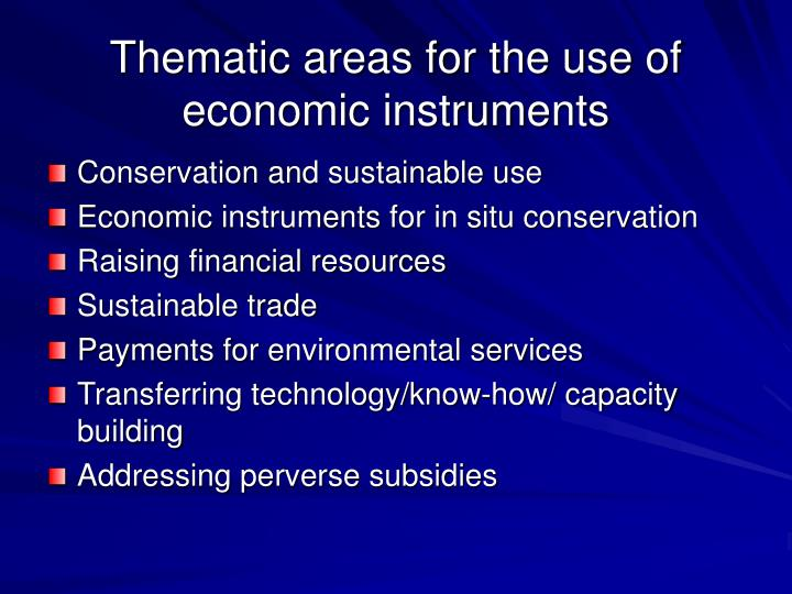 Thematic areas for the use of economic instruments