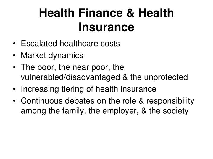Health Finance & Health Insurance