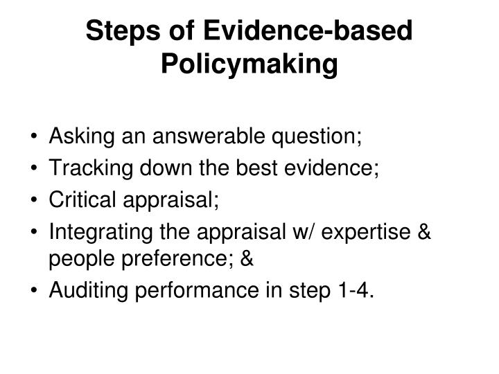 Steps of Evidence-based Policymaking