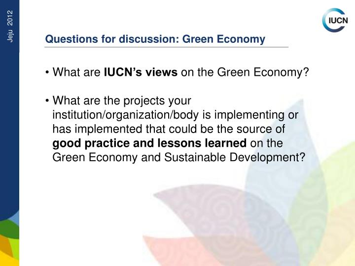 Questions for discussion: Green Economy