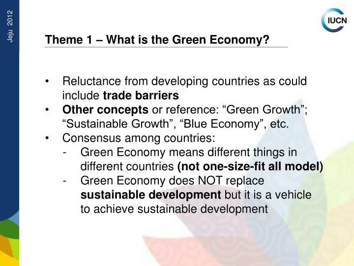 Theme 1 – What is the Green Economy?