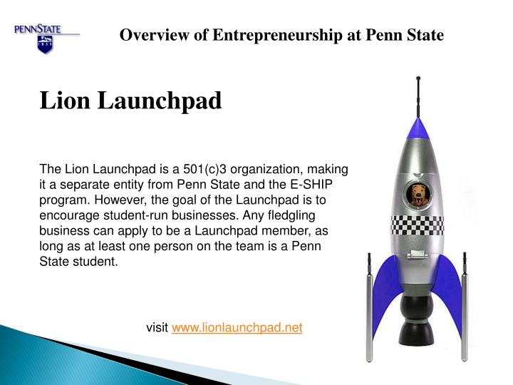Overview of Entrepreneurship at Penn State