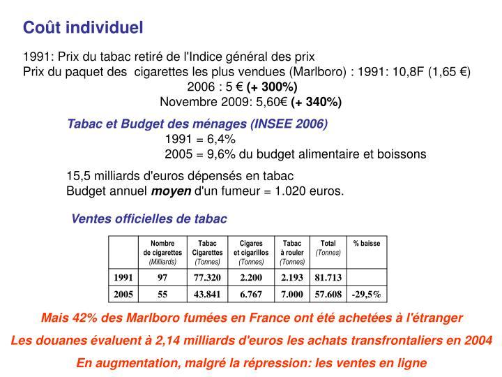 Ventes officielles de tabac