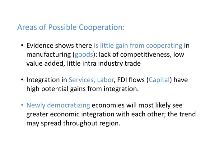 Areas of Possible Cooperation: