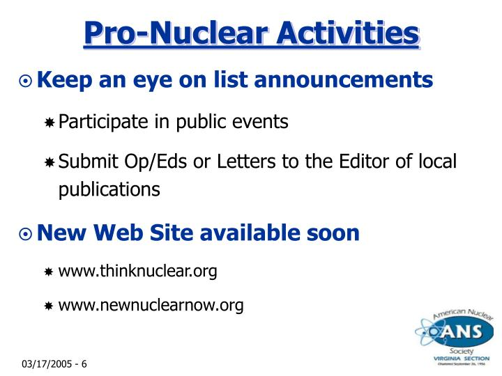 Pro-Nuclear Activities