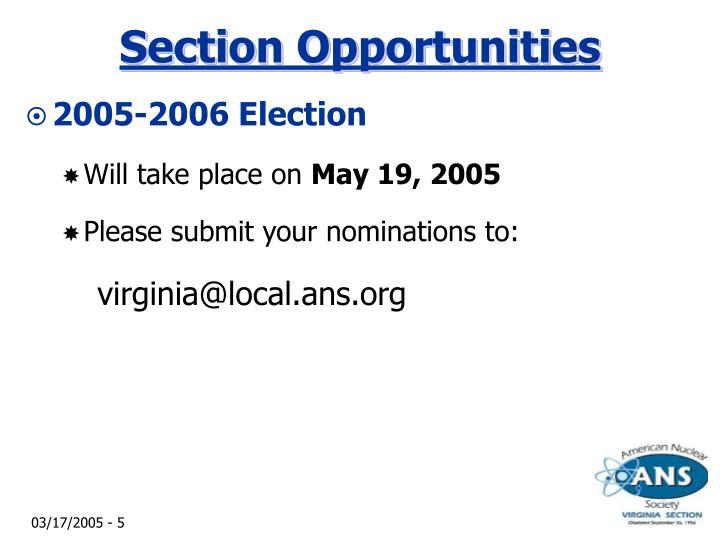 Section Opportunities