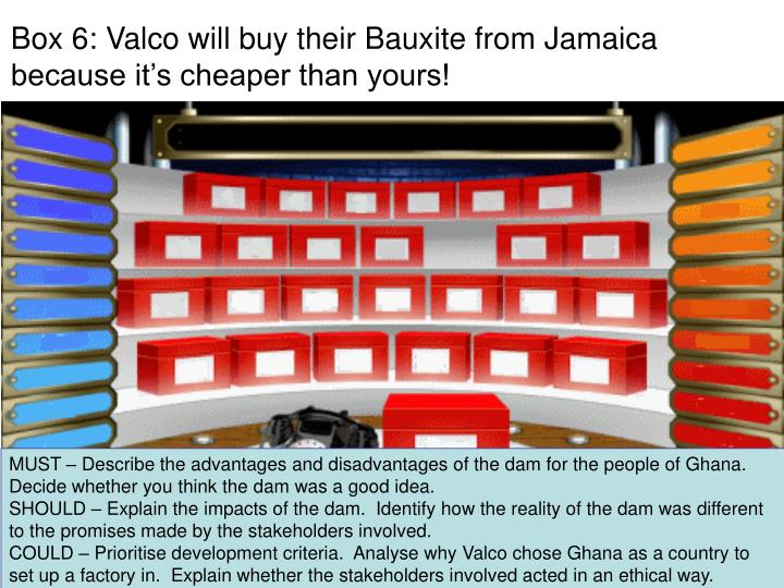 Box 6: Valco will buy their Bauxite from Jamaica because it's cheaper than yours!